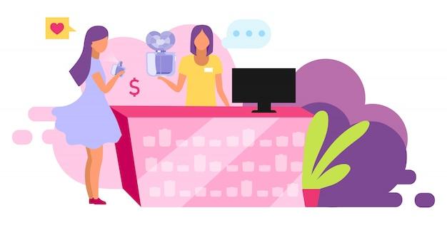 Achat D'illustration De Parfums. Client Choisissant Produit De Beauté, Parfum. Boutique De Cosmétiques, Consultant En Boutique Et Personnage De Dessin Animé Shopper Sur Fond Blanc Vecteur Premium