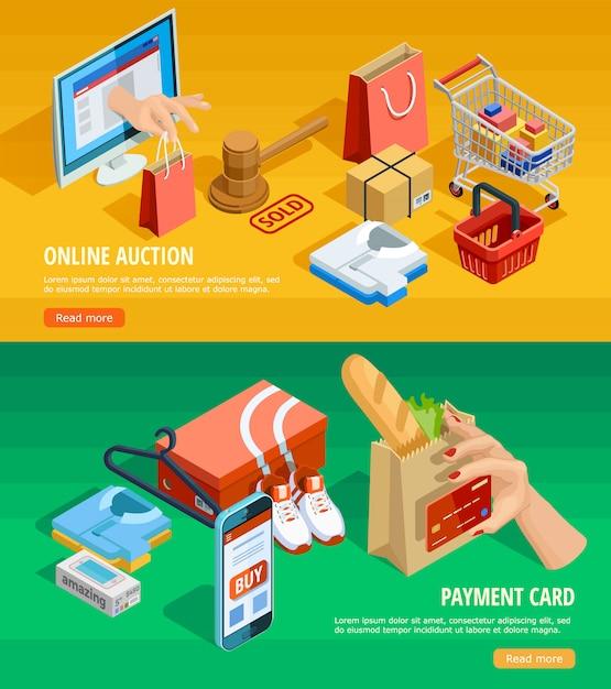 Achat en ligne e-commerce isometric banners Vecteur gratuit
