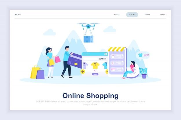 Achat en ligne moderne page de destination Vecteur Premium