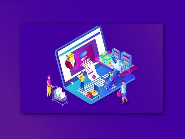 Achats En Ligne Ou Paiement Depuis Un Ordinateur Portable Ou Un Smartphone Vecteur Premium