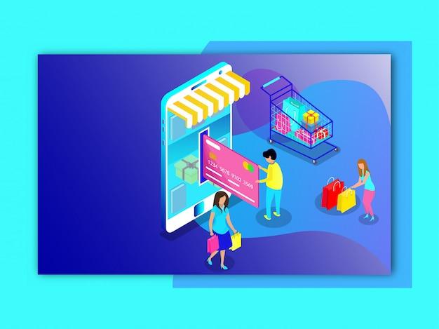 Achats En Ligne Des Utilisateurs Et Paiement Par Boutique Mobile Vecteur Premium