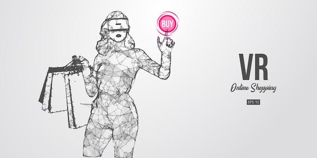 Achats En Ligne Vr. Femme Polygonale, Fille Portant Des Lunettes De Réalité Virtuelle. Belle Femme Heureuse Et élégante Avec Des Sacs à Provisions, Achetez Un Produit En Un Clic. Casque Vr Filaire Holographique Vecteur Premium