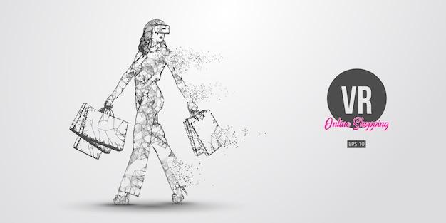 Achats En Ligne Vr. Femme Polygonale, Fille Portant Des Lunettes De Réalité Virtuelle. Belle Femme Heureuse Marche Avec Des Sacs à Provisions, Achetez Un Produit En Un Clic. Casque Vr Filaire Holographique Vecteur Premium