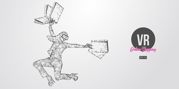 Achats En Ligne Vr. Femme Polygonale, Fille Portant Des Lunettes De Réalité Virtuelle. Belle Femme Heureuse Saute Avec Un Sac à Provisions, Achetez Un Produit En Un Clic. Casque Vr Filaire Holographique Vecteur Premium