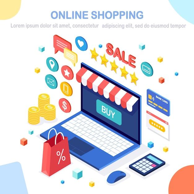 Acheter Dans Un Magasin De Détail Par Illustration Internet Vecteur Premium
