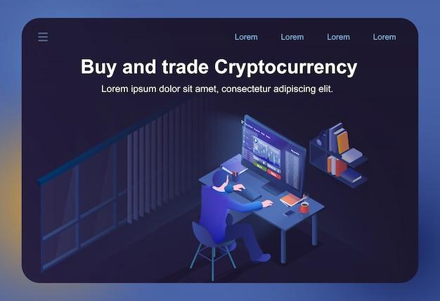 Acheter et échanger des cryptomonnaies Vecteur Premium