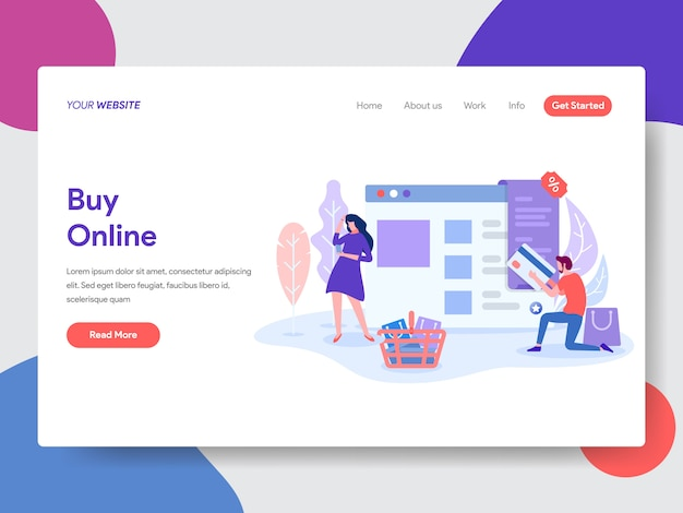 Acheter une illustration en ligne pour une page web Vecteur Premium