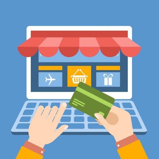 Acheter en ligne par carte de crédit Vecteur gratuit