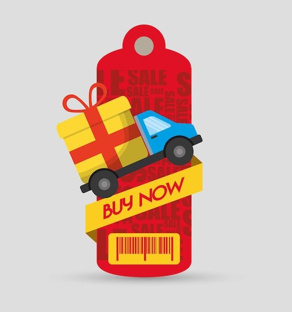 Acheter maintenant tag prix barcode truck delivery gift Vecteur Premium