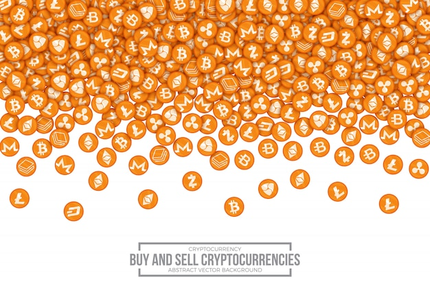 Acheter vendre crypto-devises conceptuel vector illustration Vecteur Premium