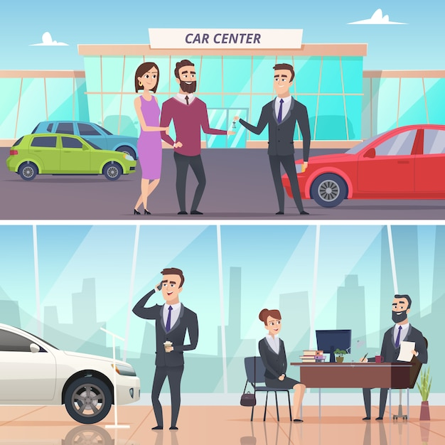 Acheter Une Voiture. Vente Et Location D'automobiles Dans Les Expositions De Voitures Bannières Publicitaires Caractères Concept Vecteur Premium