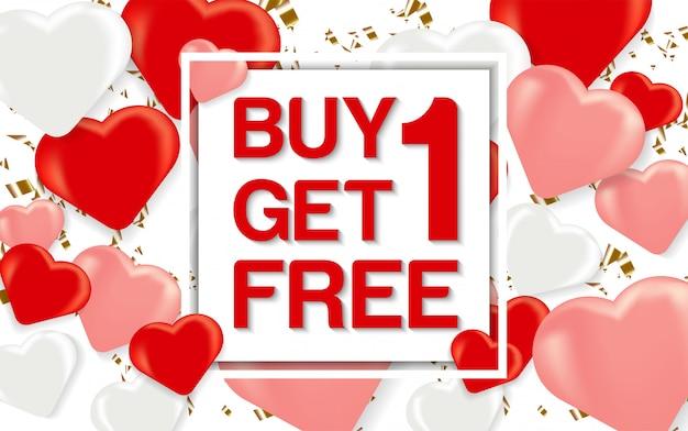 Achetez 1 Obtenez 1 Bannière De Vente Vecteur Premium