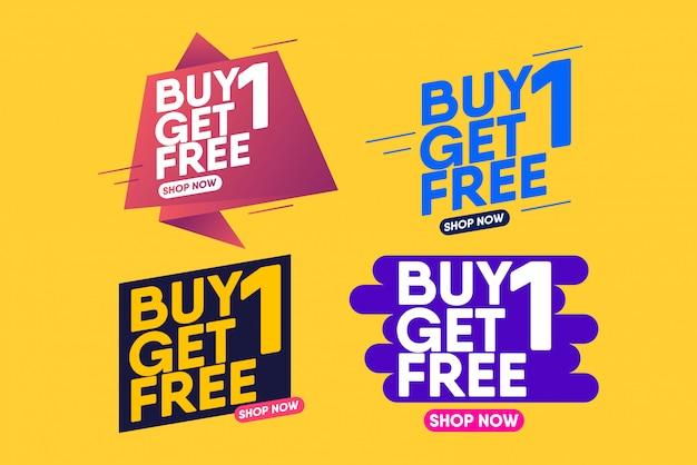 Achetez-en 1, Obtenez-en 1 Gratuit. Modèle De Conception De Bannière Pour Le Marketing. Vecteur Premium