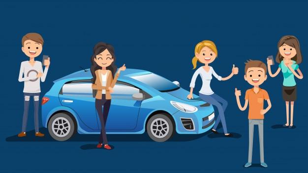 Achetez une nouvelle voiture en toute confiance Vecteur Premium