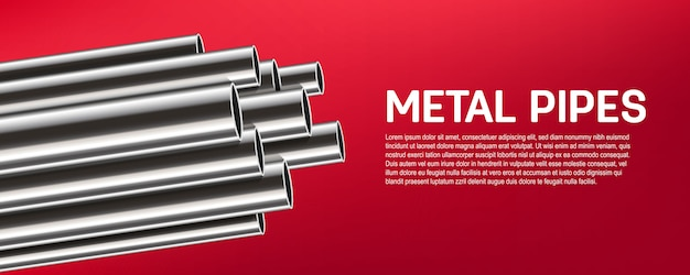 Acier, aluminium, tuyaux en métal, pile de tubes, pvc. Vecteur Premium