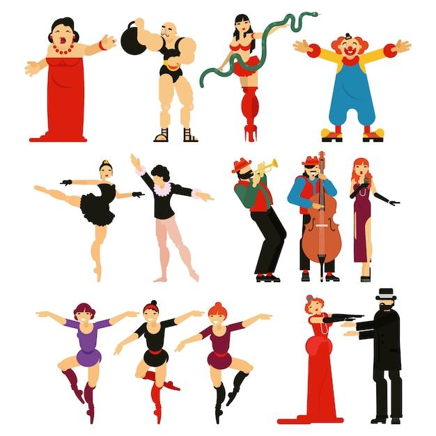 Acteur Interprète Ou Personnage Actrice Jouant Des Performances De Divertissement Musical En Théâtre Opéra Illustration Ensemble De Ballerine Danse Ballet Et Clown Homme Fort Isolé Sur Fond Blanc Vecteur Premium