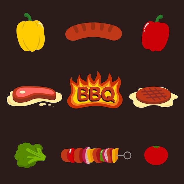 Actifs barbecue pour le jeu ou le restaurant Vecteur Premium