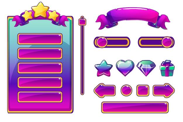 Actifs Et Boutons Violets De Dessin Animé Pour Le Jeu Ui, Interface Utilisateur Du Jeu Vecteur Premium