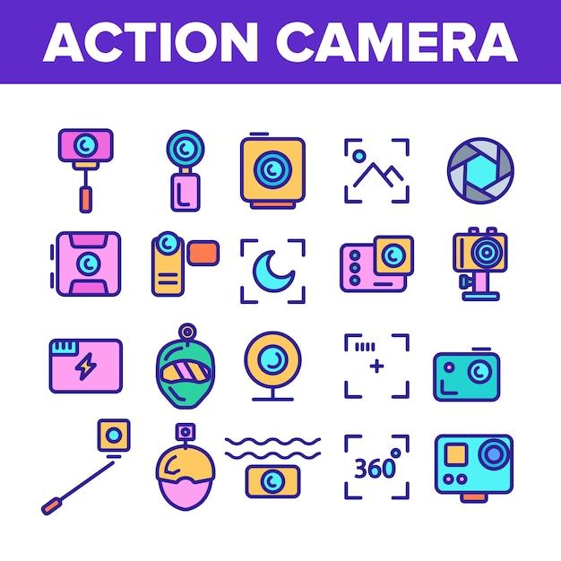 Action camera sign icons set Vecteur Premium