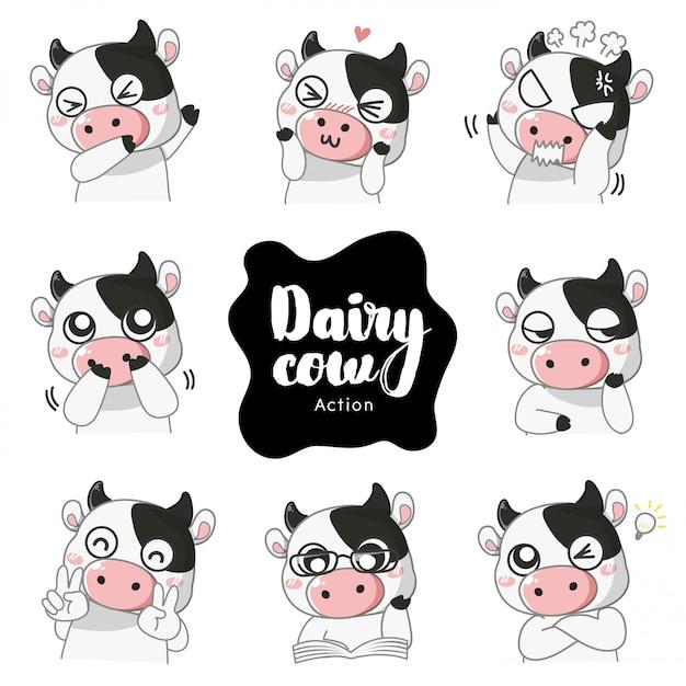 Action et émotions de la vache laitière, Vecteur Premium
