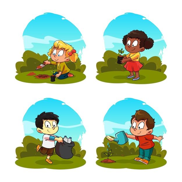 Activité De Dessin Animé Pour Enfants Plantation Et Entretien Des Plantes Vecteur Premium