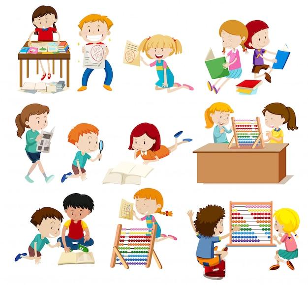 Activité de groupe d'étudiants Vecteur Premium