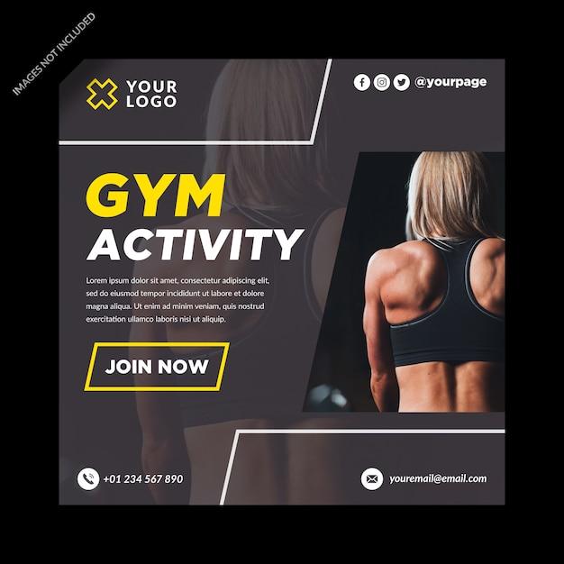 Activité De Gym Bannière Médias Sociaux Vecteur Premium