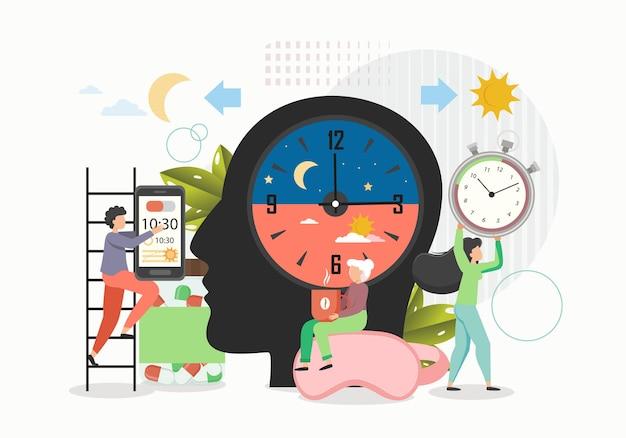 Activité De Jour Et De Nuit, Illustration Vectorielle Plane. Théorie Des Biorythmes, Cycles Biologiques Rythmiques. Vecteur Premium