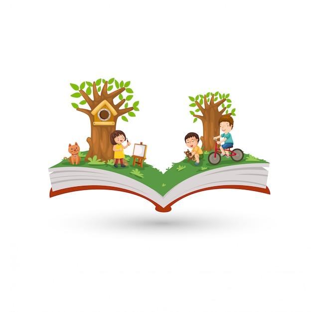 Activité de livre ouvert dans le parc Vecteur Premium