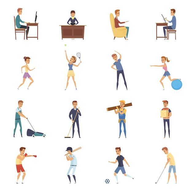 L'activité physique et mode de vie isolé jeu d'icônes Vecteur gratuit