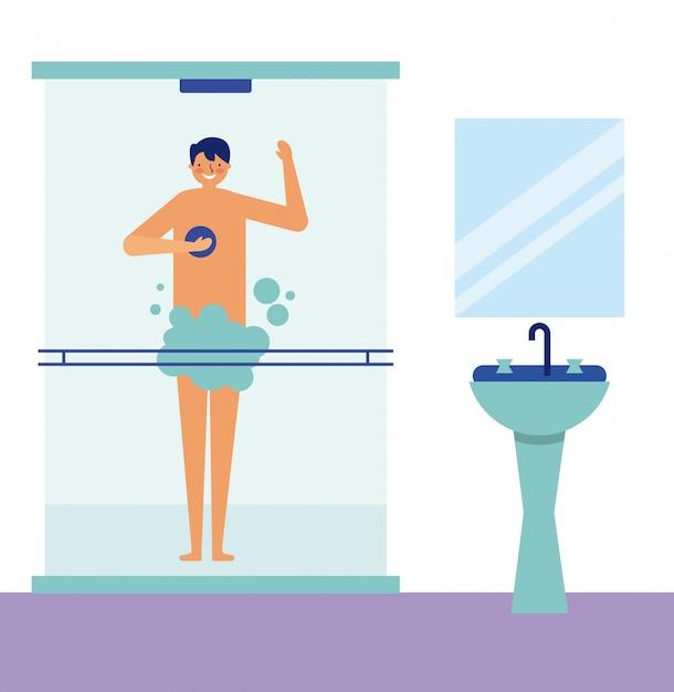 Activité quotidienne homme prenant une douche Vecteur gratuit