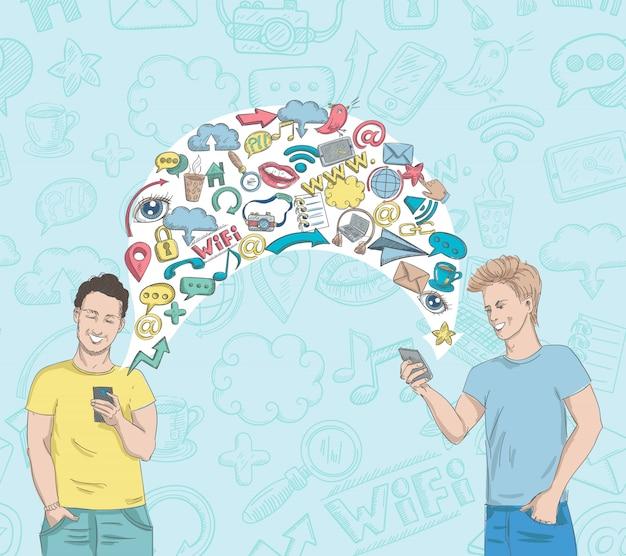 Activité de réseau social Vecteur gratuit