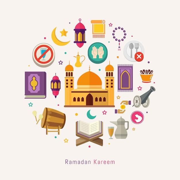 Activité de signe et de symbole du ramadan karim pour les musulmans Vecteur Premium