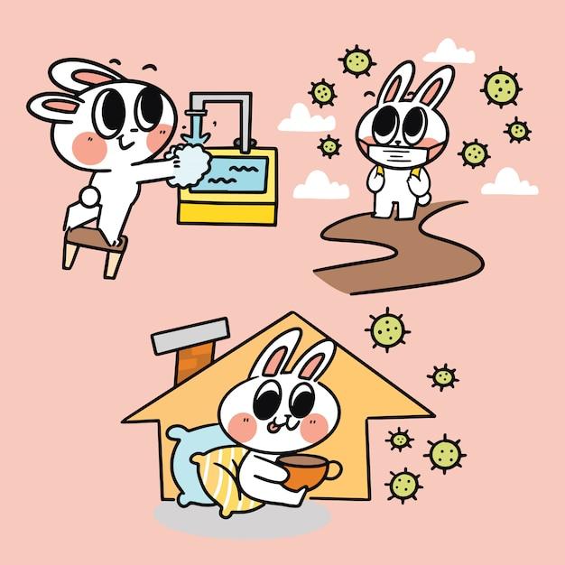 Activités De L'adorable Mignon Joli Lapin à Corona Times Illustration De Doodle Simple Concept De Campagne Covid-19 Vecteur Premium