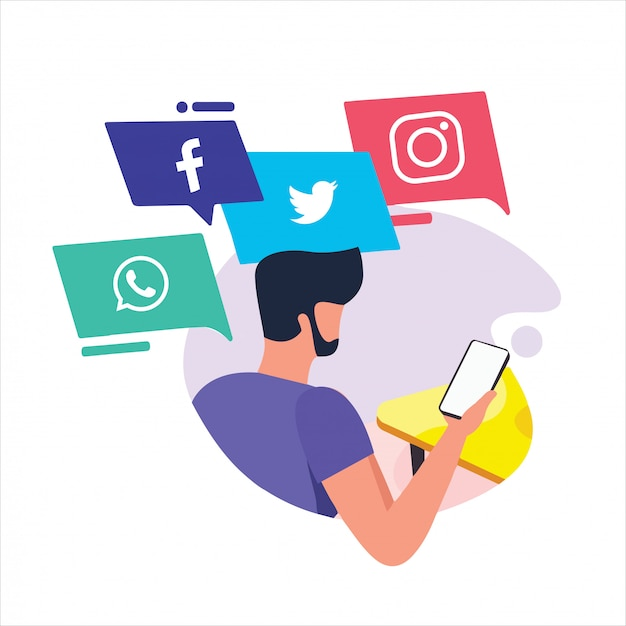 Activités de gens d'affaires de médias sociaux dessinés à la main Vecteur Premium