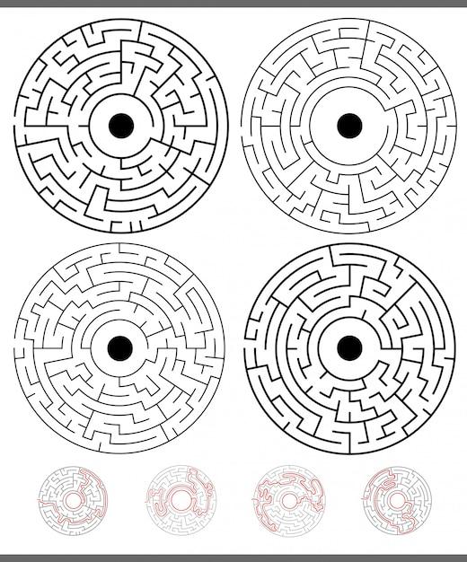 Activités de jeu de labyrinthe avec des solutions Vecteur Premium