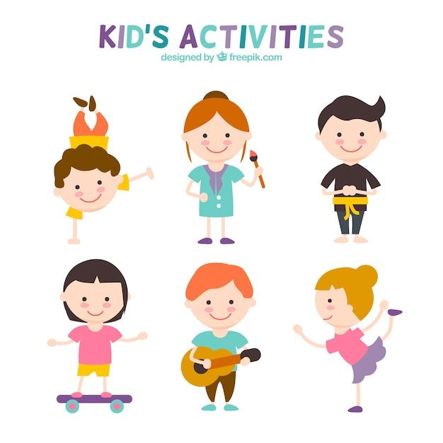 Activités pour enfants set Vecteur gratuit