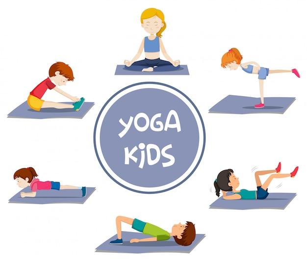 Activités de yoga pour enfants Vecteur gratuit