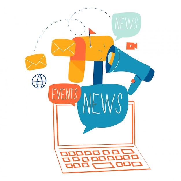 Actualités, abonnement et promotion par e-mail Vecteur Premium