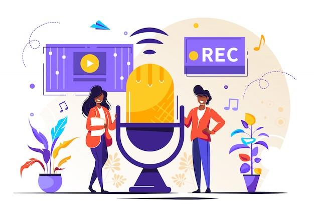 Actualités, Interviews, Musique, Jeu De Voix, Enregistrement Sonore Vecteur Premium