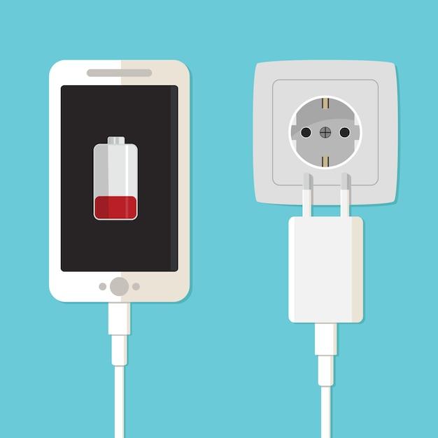 Adaptateur De Chargeur Pour Smartphone Et Prise électrique Vecteur Premium