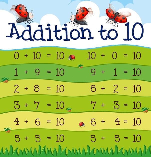 Une addition à 10 table Vecteur gratuit