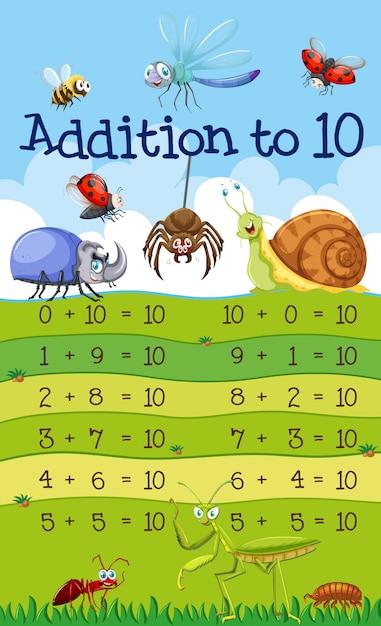 Une addition mathématique à 10 leçons Vecteur gratuit