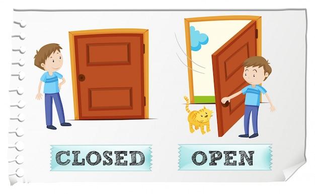 Adjectifs opposés fermés et ouverts Vecteur gratuit