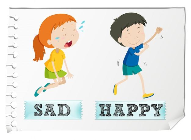 Adjectifs opposés avec triste et heureux Vecteur gratuit