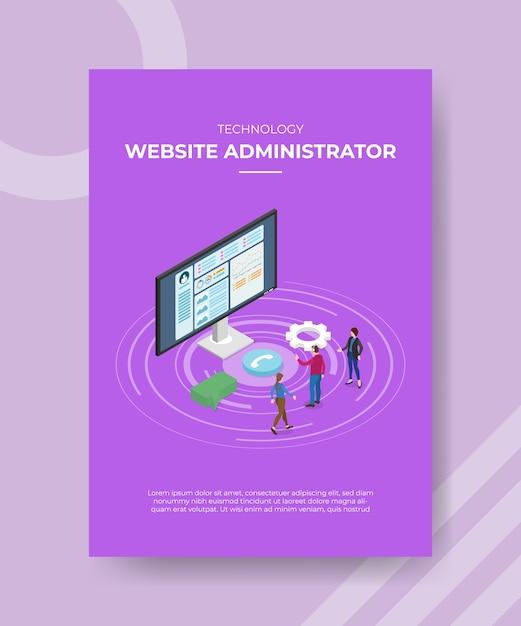 Administrateur De Site Web De Technologie Personnes Debout Moniteur Avant Ordinateur Bulle Chat Vecteur gratuit