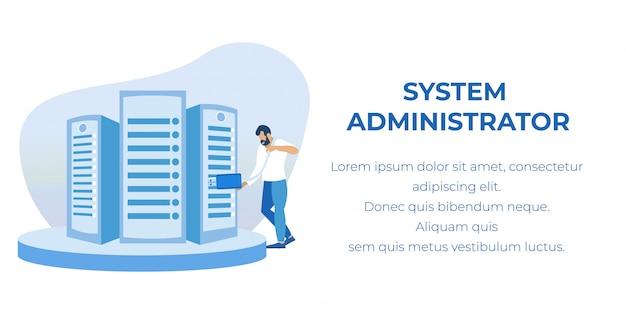 Administrateur Système Desservant La Bannière Publicitaire Vecteur Premium