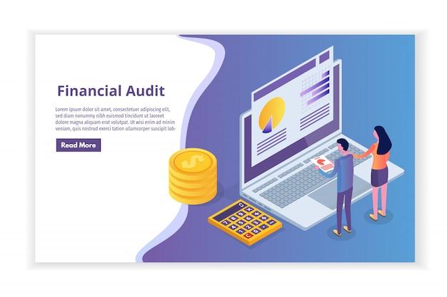 Administration Financière, Examinateur, Concept Isométrique D'audit Avec Des Personnages. Impôt Sur Les Sociétés Et Compte. Vecteur Premium