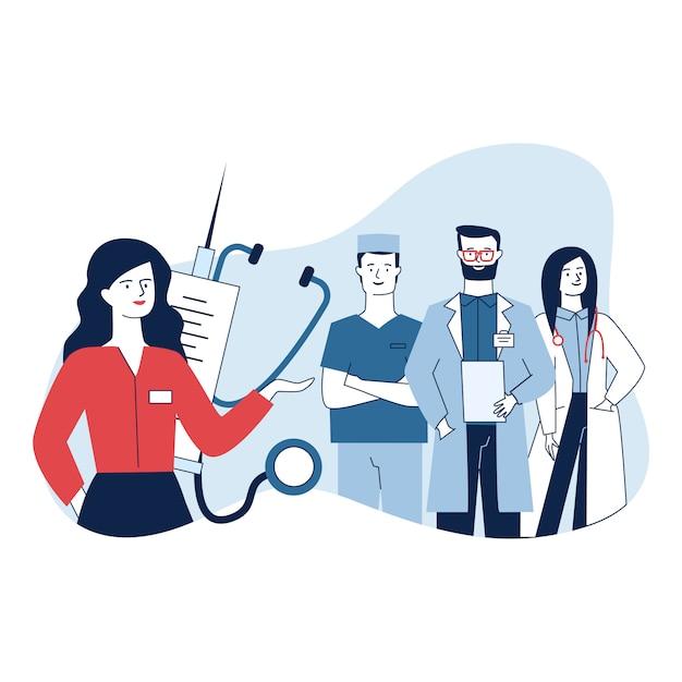 Administratrice Médicale Féminine Et Son équipe Debout En Toute Confiance Vecteur gratuit