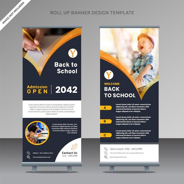 Admission open rollup x design design modèle de retour à l'école, couche organisée Vecteur Premium